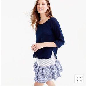 J. Crew Linen sweater with pom-pom trim in Olive